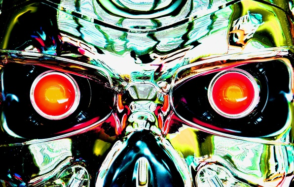 Picture eyes, metal, steel, mechanism, robot, cyborg, terminator, Terminator