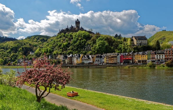 Picture the sky, grass, clouds, trees, landscape, river, castle, mountain, home, Germany, promenade, Cochem, Castle