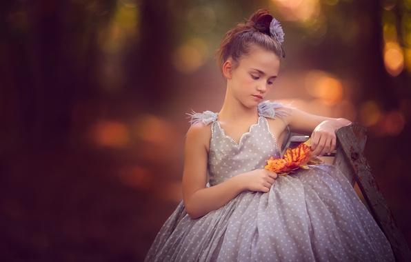 Picture leaves, mood, dress, girl, bokeh