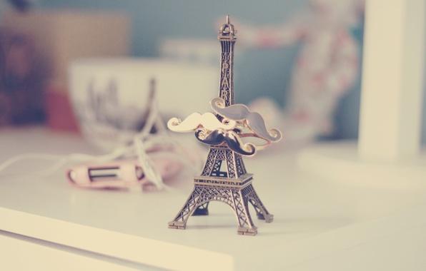 Picture mustache, Eiffel tower, figure