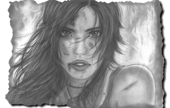 Picture look, girl, face, hair, figure, art, lips, Lara Croft, Tomb raider