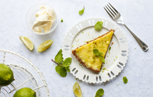 Picture pie, lime, fruit, mint, cream, cakes