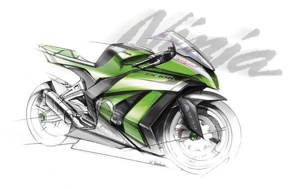 Picture motorcycle, Kawasaki, Ninja, the sketch, ZX-10R