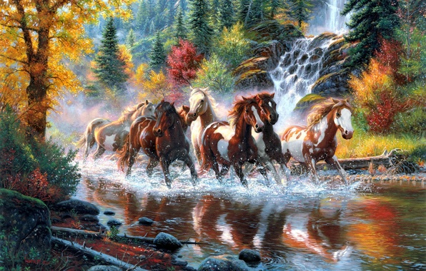 Picture autumn, forest, trees, river, waterfall, horses, horse, art, the herd, Mark Keathley