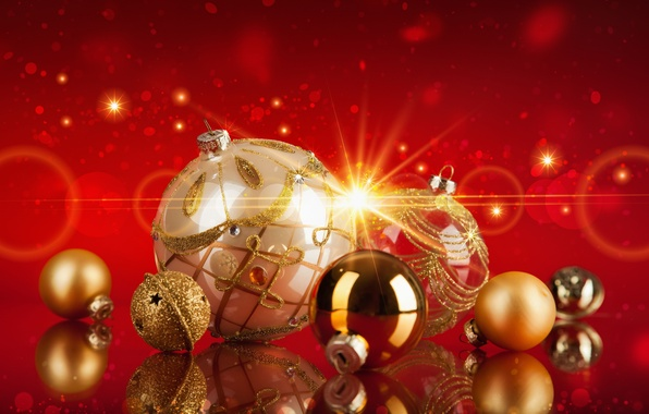 Picture decoration, balls, Shine, Christmas, New year, gold, New Year, decoration, 2016