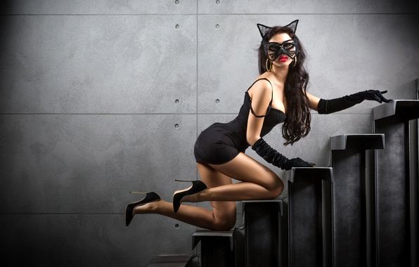 Picture girl, pose, figure, dress, brunette, mask, ladder, shoes, gloves, steps, in black, Catwoman, Catwoman