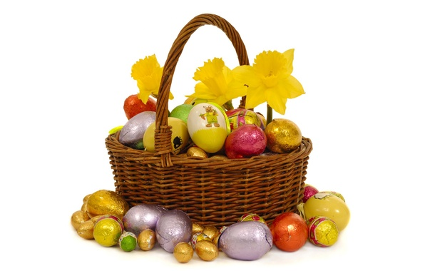 Picture flowers, eggs, Easter, basket, Sunday