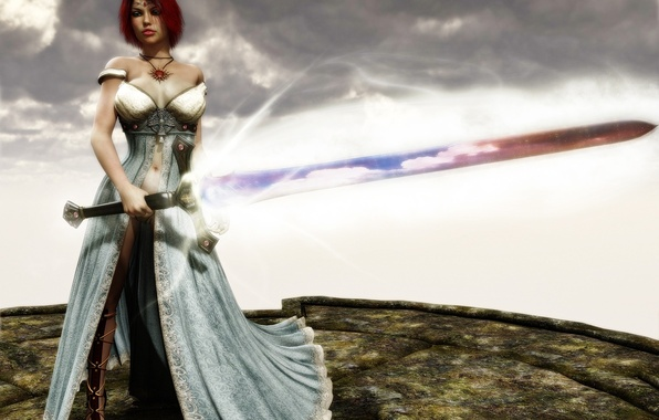 Picture the sky, girl, magic, sword, art, red