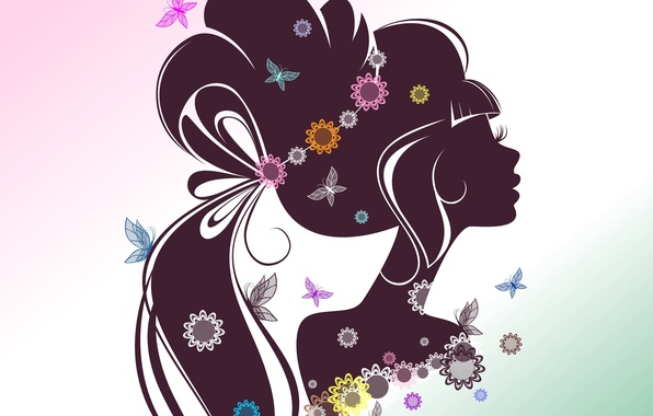 Picture girl, butterfly, flowers, face, eyelashes, background, hair, silhouette, profile