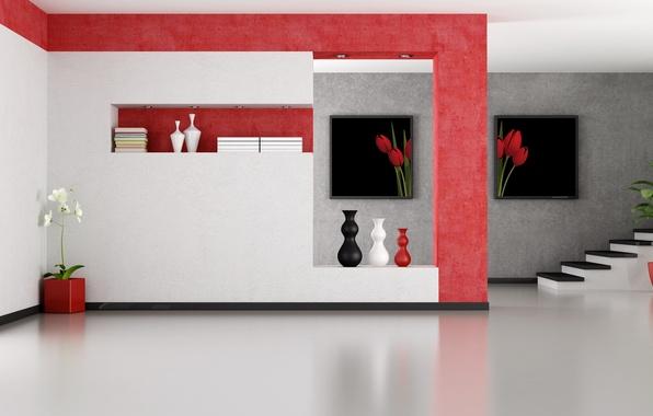 Picture flowers, Palma, room, ladder, stage, vase, modern, folder