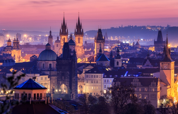 Picture sunset, the city, lights, home, the evening, Prague, Czech Republic
