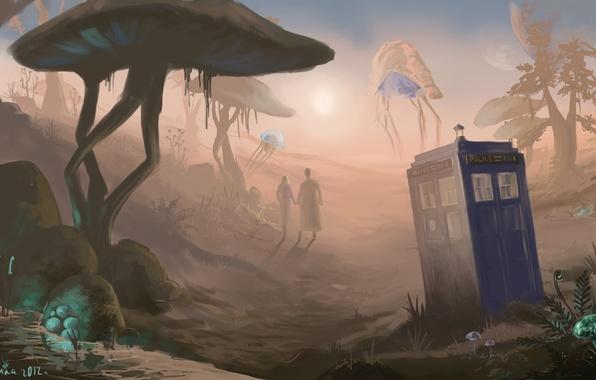 Picture art, Doctor Who, art, Doctor Who, The TARDIS, The Elder Scrolls, Morrowind, TARDIS, Morrowind