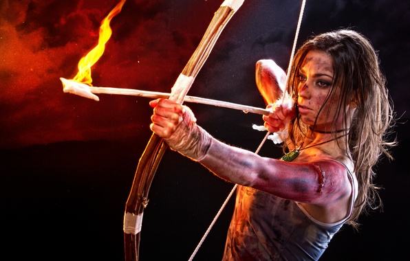 Picture look, girl, face, fire, bow, arrow, lara croft, tomb raider, cosplay, Lara Croft