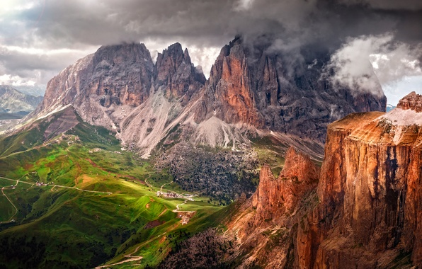 Picture summer, the sky, mountains, clouds, rocks, valley, Alps, Italy, province, The Dolomites, August, South Tyrol