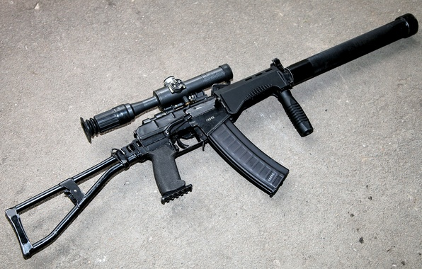 Picture weapons, machine, cartridges, sight, with, arm, view, muffler, butt, right, rifle, upgraded, assault, optical, small, …