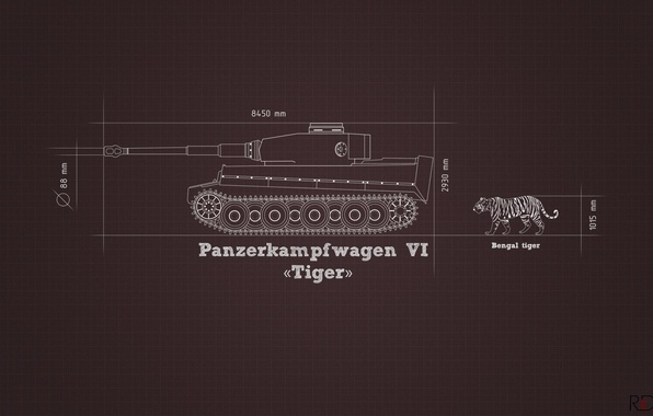 Picture information, tiger, minimalism, tank, Tiger, heavy, German, comparison