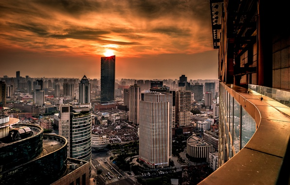 Picture sunset, China, building, panorama, China, Shanghai, Shanghai, Huangpu, Huangpu