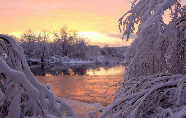 Picture winter, snow, sunset, river