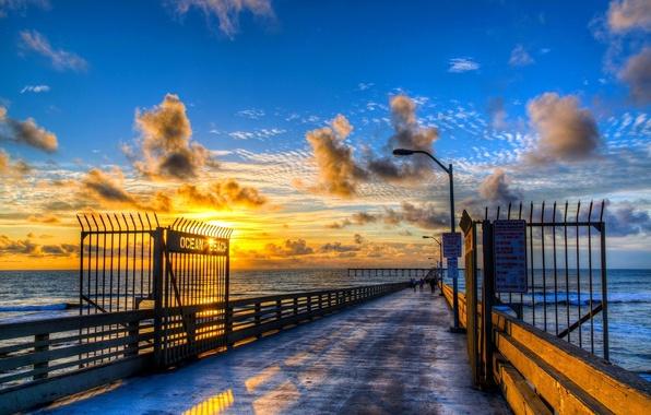 Picture SEA, HORIZON, The OCEAN, The SKY, CLOUDS, PIER, PIERCE, SUNSET, DAL, DAWN