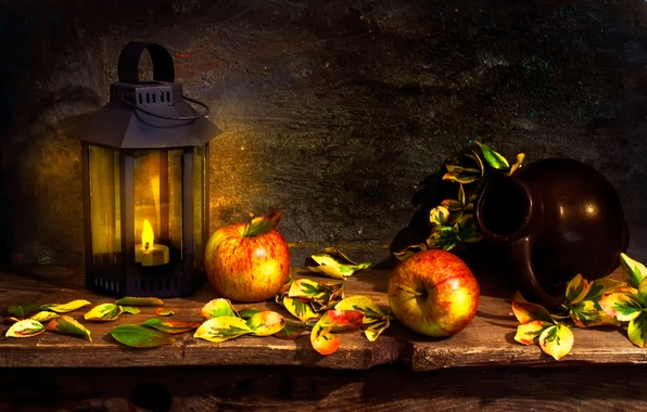 Picture apples, color, lantern, pitcher, A peep at nature