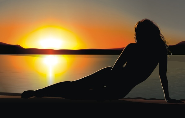 Picture sunset, Girl, vector, silhouette