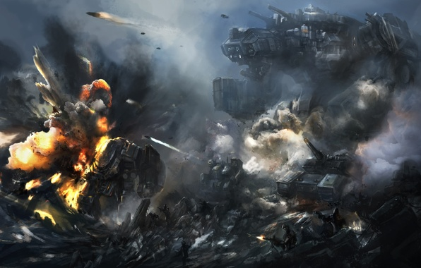 Picture rocks, robot, explosions, art, soldiers, battle, giant