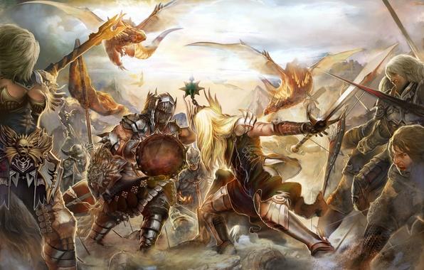 Picture weapons, dragons, armor, battle, swords, knights, shields, MMORPG, battle, knights, Perfect world, swords, Forsaken world, …