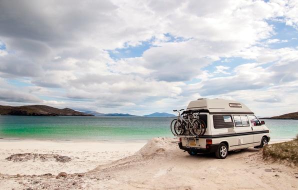 Picture sand, sea, wave, light, landscape, nature, stay, positive, morning, blur, the trunk, summer, caravan, clouds, …