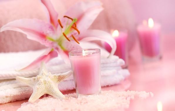 Wallpaper beauty stay relax towel flower pink candle beauty