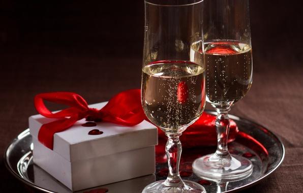 Picture love, gift, wine, heart, glasses, love, heart, romantic, Valentine's Day