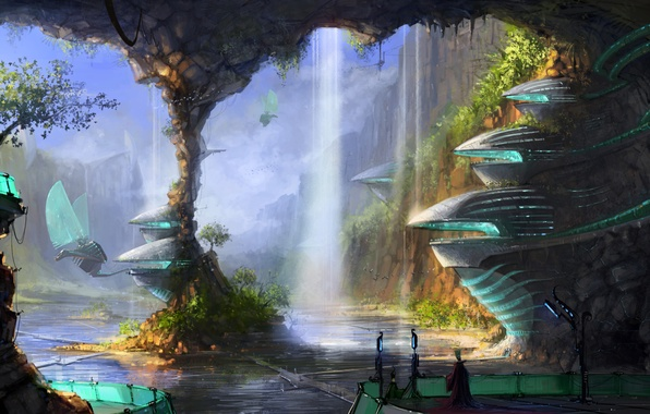 Picture water, birds, the city, people, waterfall, cave, mechanisms, column