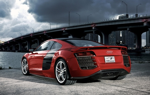 Picture red, bridge, audi