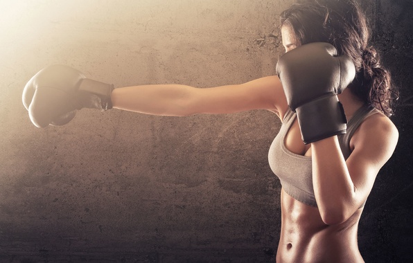 Picture woman, boxing, gloves