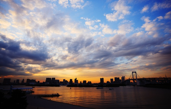 Picture sea, the sky, clouds, sunset, bridge, the city, Japan, blue, Tokyo