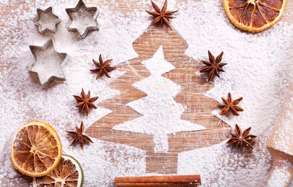 Picture New Year, Tree, Orange, Food, Cinnamon, Powdered Sugar