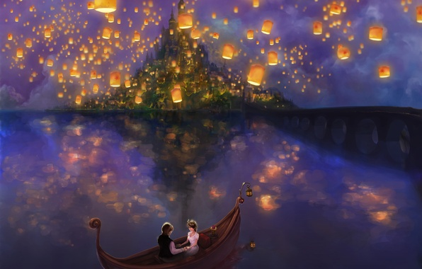 Picture water, love, bridge, lights, lights, lake, chameleon, castle, boat, island, tale, Rapunzel, love, a couple, ...