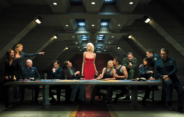 Picture table, people, red, ship, the situation, dress, galaxy, the series, Battlestar Galactica, the Cylons, Tricia …
