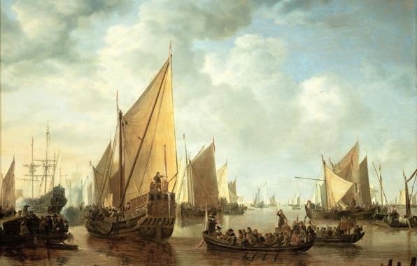 Picture sea, landscape, people, boat, ships, picture, sail, Simon de Vlieger, A VISIT TO THE FLEET