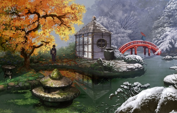 Picture winter, autumn, leaves, snow, flowers, bridge, pond, girls, seasons, Asia, umbrella, art, kimono, mugon, hydrangeas