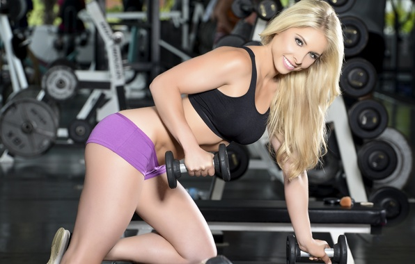 Picture look, blonde, fitness, dumbbell