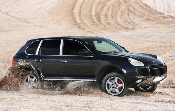 Picture Porsche, black, desert, speed, sand, Turbo, Cayenne