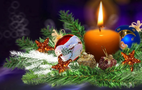 Picture decoration, fire, balls, tree, candle, Christmas, New year, tree, colorful, Christmas composition