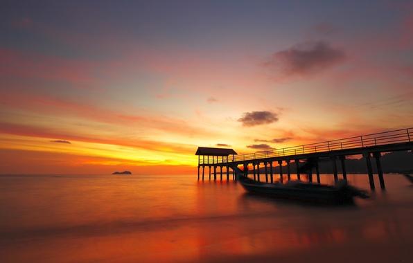 Picture the ocean, dawn, Marina, boat, pierce