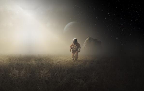 Picture moon, field, art, man, astronaut, capsule landing