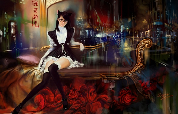 Picture girl, flowers, abstraction, sofa, roses, stockings, art, glasses, red, form, ears, neko, sitting, shitub52