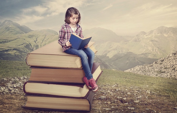 Picture mountains, nature, books, girl, reading