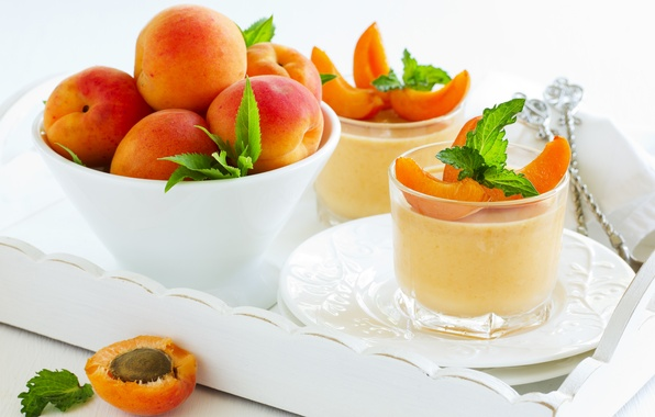 Picture dessert, leaves, leaves, apricots, dessert, apricots