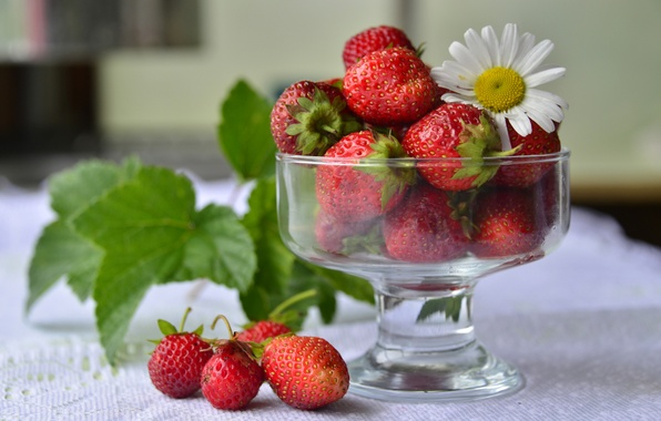 Picture red, berries, Daisy, strawberry, vase