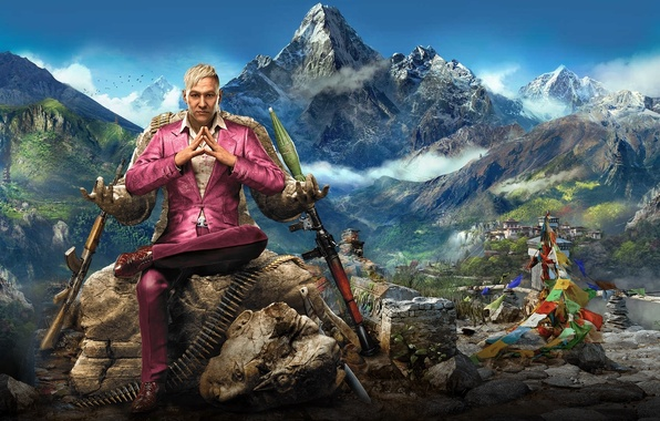 Picture The sky, Clouds, Mountains, Look, Snow, Statue, Costume, Weapons, Ubisoft, Far Cry 4, RPG, Pagan ...
