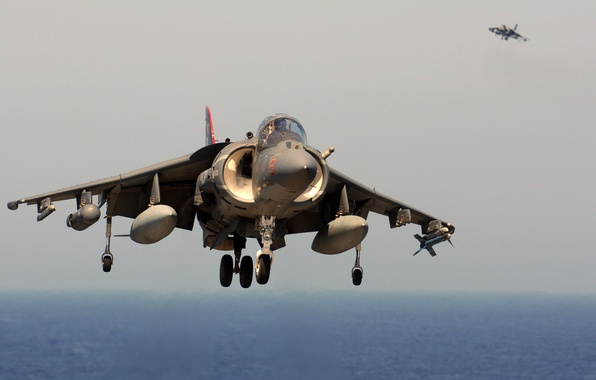 Picture Sea, The plane, Fighter, Day, UK, USA, Aviation, Harrier, Bomber, The rise, Deck, Two, Harrier, ...